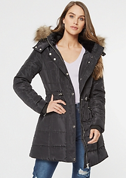 Black Faux Fur Hooded Long Length Puffer Jacket