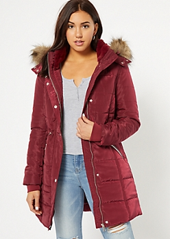 Burgundy Faux Fur Hooded Long Length Puffer Jacket