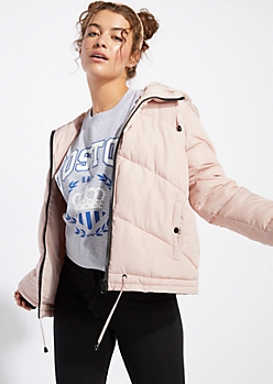 Light Pink Hooded Cropped Puffer Jacket