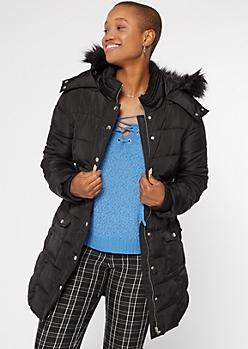 Black Faux Fur Hooded Long Puffer Coat