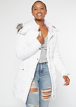 White Faux Fur Hooded Long Puffer Coat