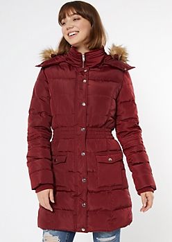 Burgundy Faux Fur Hooded Long Puffer Coat