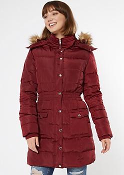 Burgundy Faux Fur Hooded Long Puffer Coat