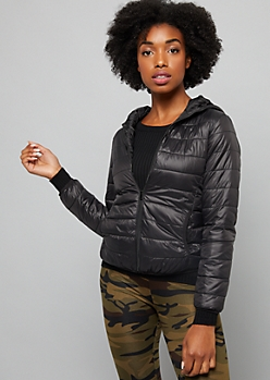 Black Packable Hooded Puffer Coat