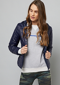 Navy Packable Hooded Puffer Coat