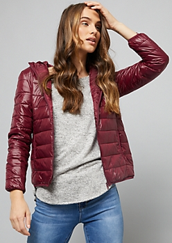 Burgundy Packable Hooded Puffer Coat