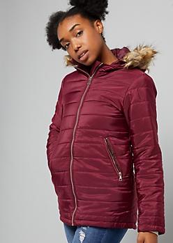 Burgundy Faux Fur Hooded Puffer Jacket