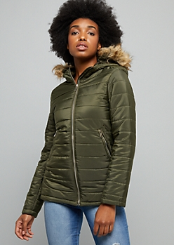Olive Faux Fur Hooded Puffer Jacket
