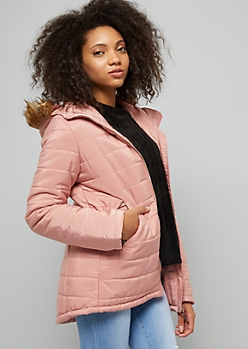Pink Faux Fur Hooded Puffer Jacket