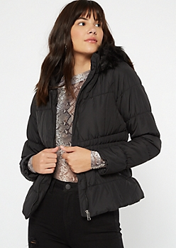 Black Ruched Fur Lined Hooded Puffer Jacket