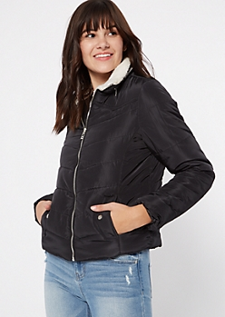 Black Sherpa Collar Puffer Jacket
