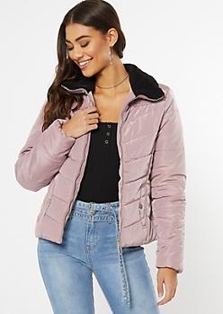 Mauve Sherpa Collar Puffer Jacket