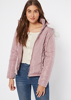 Pink Fitted Quilt Puffer Jacket