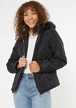 Black Quilted Faux Fur Hood Puffer Jacket