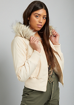 Taupe Faux Fur Hood Quilted Bomber Jacket