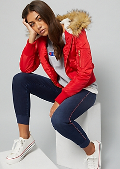 Red Faux Fur Hood Quilted Bomber Jacket