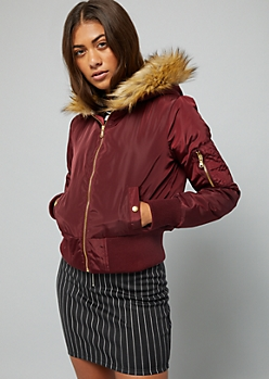 Burgundy Faux Fur Hood Quilted Bomber Jacket
