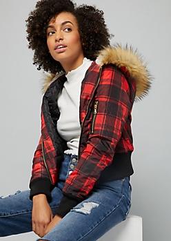 Red Plaid Print Faux Fur Hood Bomber Jacket
