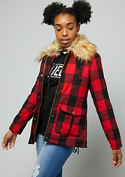 Red Plaid Print Faux Fur Wool Blend Anorak Jacket