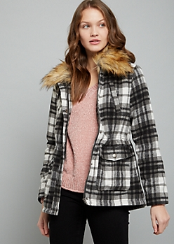 Black Plaid Print Faux Fur Wool Blend Anorak Jacket