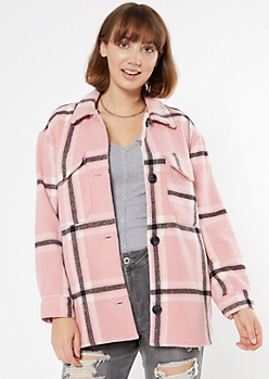 Pink Plaid Wool Blend Shacket