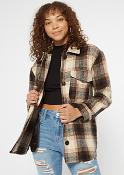 Brown Plaid Wool Blend Shacket