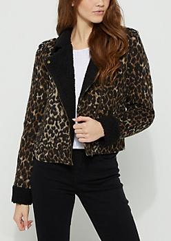 Leopard Sherpa Moto Jacket