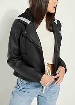 Sherpa Hooded Faux Leather Moto Jacket