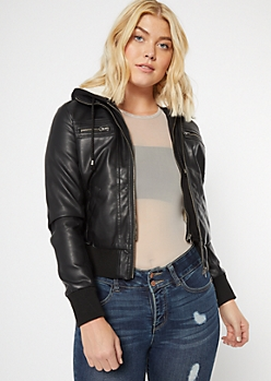 Black Faux Leather Sherpa Bomber Jacket