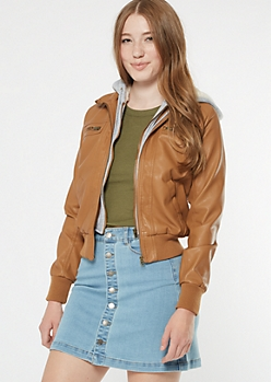 Cognac Faux Leather Sherpa Bomber Jacket