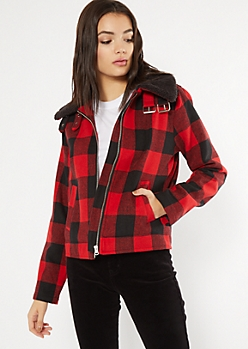 Red Plaid Print Fur Collar Buckled Moto Jacket