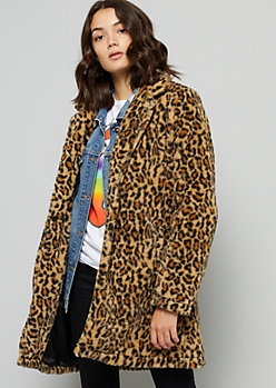 Leopard Print Faux Fur Long Length Jacket