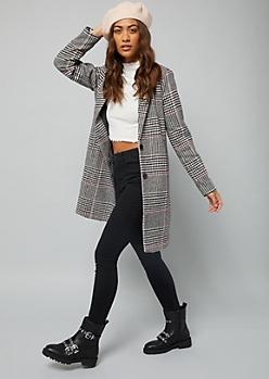 Purple Glen Plaid Wool Blend Overcoat
