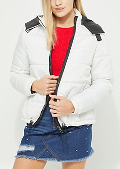 White Asymmetrical Puffer Coat