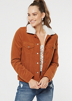 Camel Corduroy Sherpa Lined Jacket