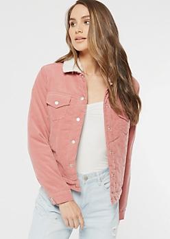 Pink Corduroy Sherpa Lined Jacket