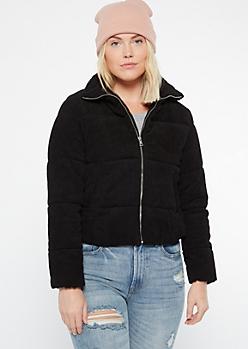 Black Corduroy Puffer Jacket