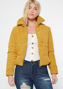 Mustard Corduroy Puffer Jacket