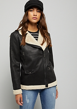 Black Faux Leather Lined Zip Front Jacket