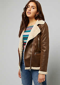 Brown Faux Leather Lined Zip Front Jacket