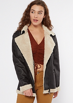 Black Faux Leather Shearling Moto Jacket