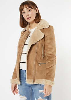 Tan Faux Suede Shearling Moto Jacket