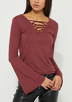 Burgundy Lattice Front Bell Sleeve Top