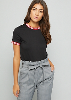 Black Striped Crew Neck Fitted Tee