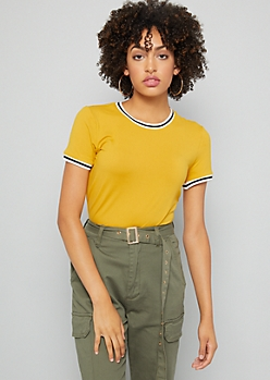 Mustard Striped Crew Neck Fitted Tee