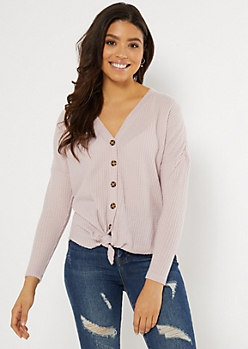 Pale Lilac Button Down Waffle Knit Top