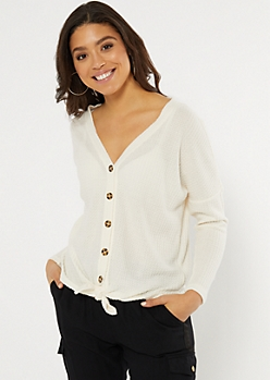 Ivory Button Down Waffle Knit Top