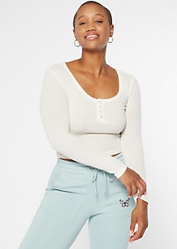 Ivory Soft Hacci Knit Henley Top