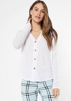 Ivory Ribbed Knit Button Down Top