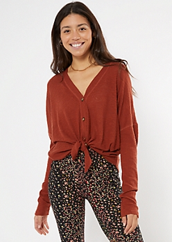 Brown Ribbed Knit Button Down Top